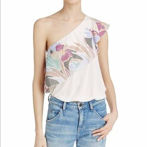 NWT Free People One Shoulder Tropical Crop Shirt